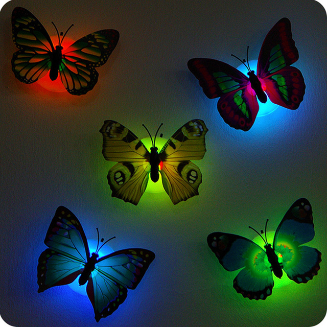 5pcs Self-adhesive butterfly shape decorative night light wall lamp baby bedside lights Indoor lighting home decor 1