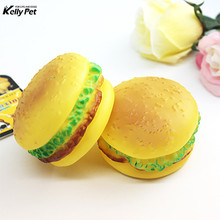High Quality Pet Toy Rubber Hamburgers Squeak toys Dog Toys Clean Teeth Chew Training For Cat Puppy