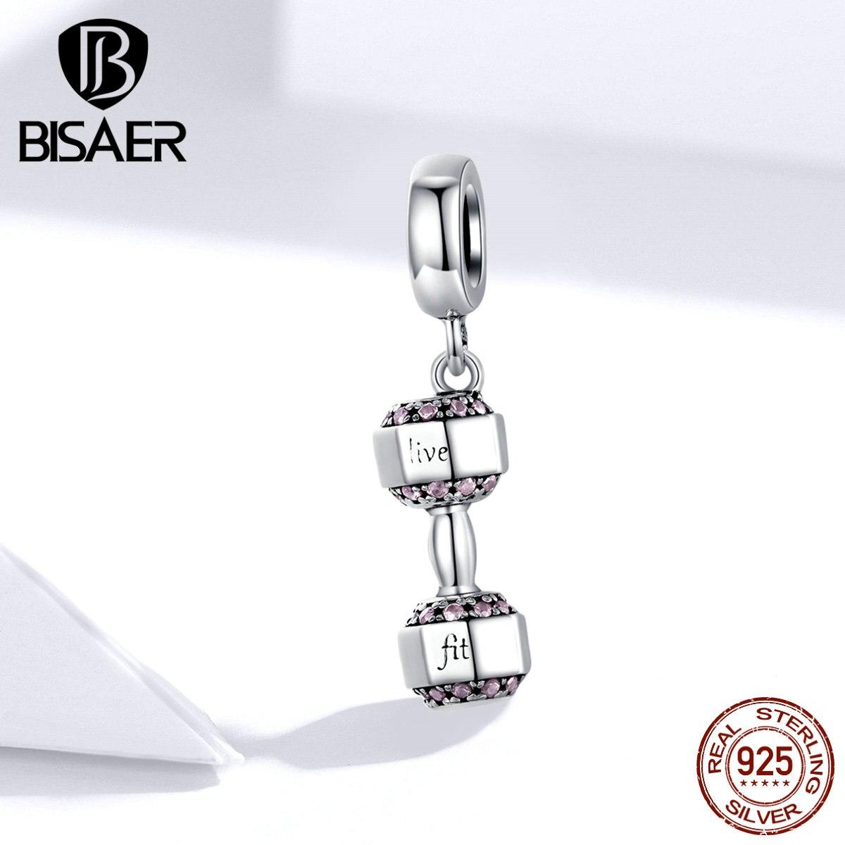 Hot Sale Dumbbell BISAER 925 Sterling Silver Dumbbell Sport Beads Fit Original Charm Bracelets Silver 925 Jewelry ECC1340