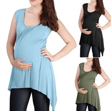 Women Maternity Casual Sleeveless Tee Clothes Cotton Solid color Pregnant woman Top T shirt S-XXL