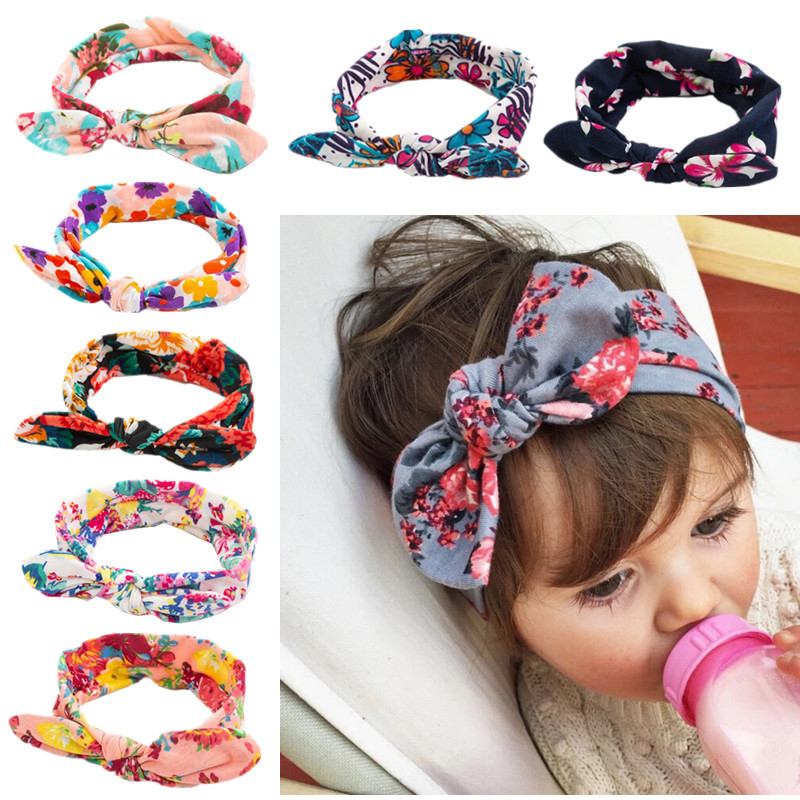 New Colorful Bohemian  Newborn Baby Cotton Headband Ribbon Elastic Baby Headdress Rabbit Ears Children Hair Band Girl Bow Knot