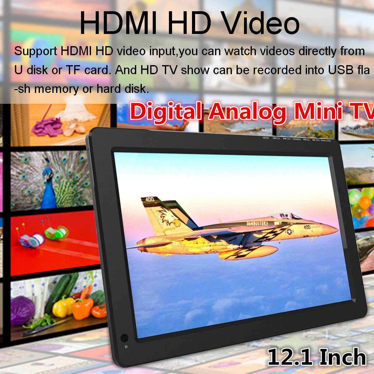 12.1 Inch 18W 12V Portable Digital Analog Mini TV DVB-T / DVB-T2 TFT LED 1080P HD Car TV Support TF Card USB Audio Eu Plug