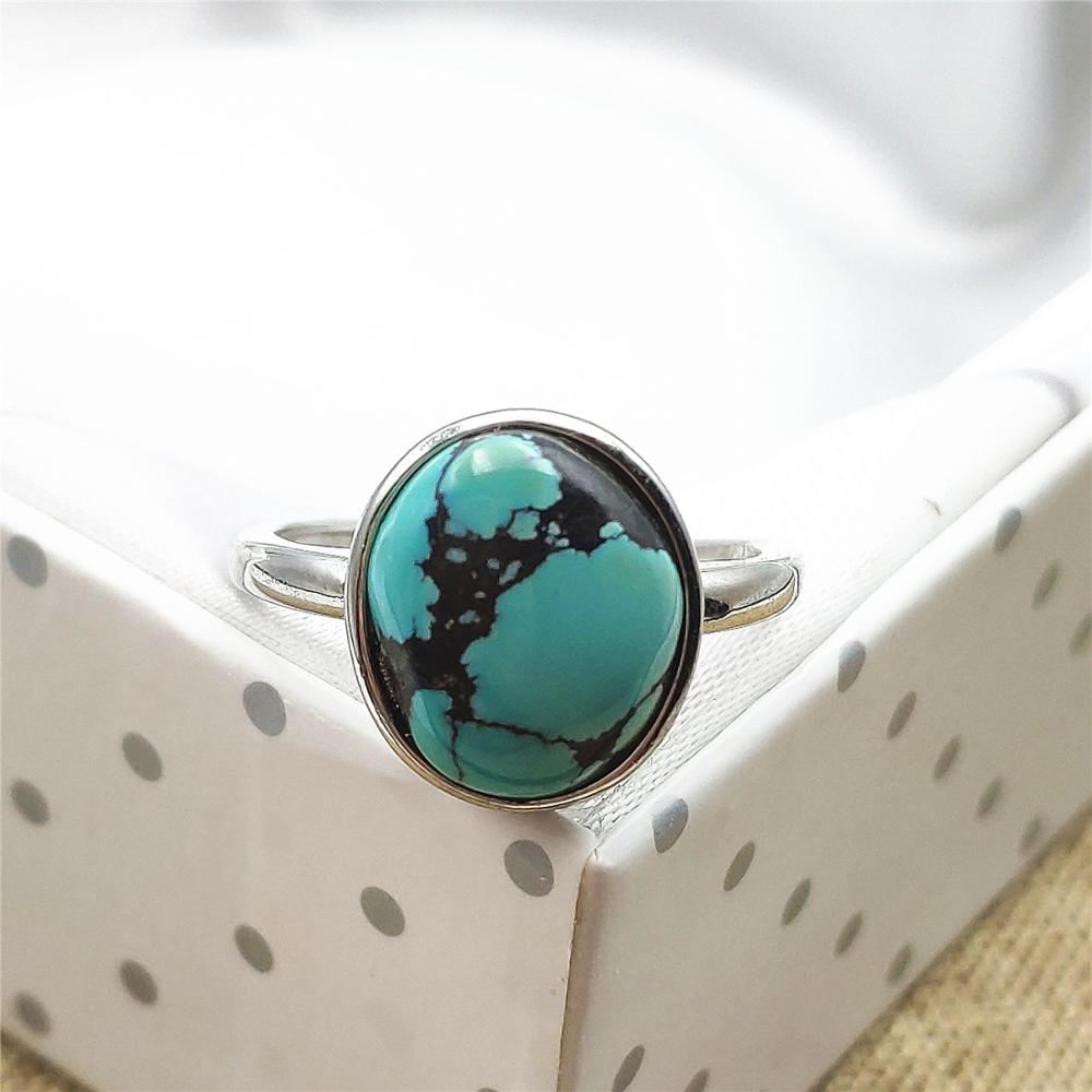 Natural Green Turquoise Crystal Adjustable Rare Women Ring Stone 925 Silver 12x11mm Beads Lucky Love Stone AAAA Drop Shipping