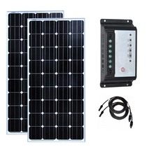Rv Kit 300w Solar Panel 150w Monocrystalline 2 Pcs Solar Charge Controller 12v/24v 20A PWM PV Cable 10M Motorhomes Caravan Car pwm epsolar epever ls2024b mini solar pv system controller 20a 20amp usb cable and wifi box support wireless communication