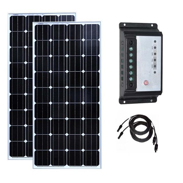 Solar Kit 300w 12v 150w Solar Panel Board 2 Pcs Solar Charge Controller 12v/24v 30A PWM PV Cable Caravan Car Camping Boat Marine