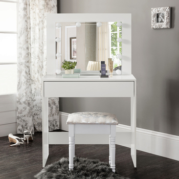 Toaletka MDF z oświetleniem LED biała toaletka z lustrem stół kosmetyczny z szufladami duża taca komody meble tanie i dobre opinie CN (pochodzenie) Meble do sypialni komoda meble do domu