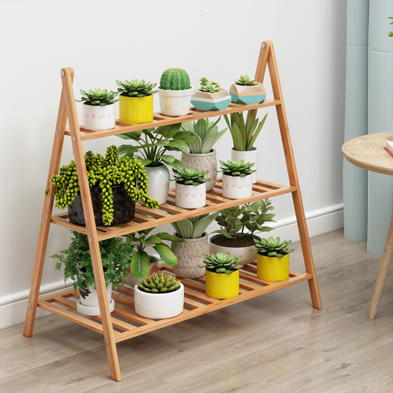Multi-storey Indoor Fold Landing Type Flowerpot More Meat Chlorophytum Solid Wood Simplicity Shelf