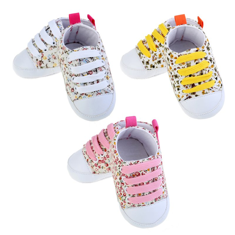Flower Newborn Baby Girl Shoes Fashion Floral Print Canvas Anti-slip Breathable Soft Sole Shoes Baby Sneakers First Walkers