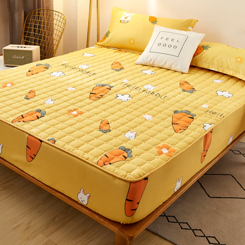 Carrot Anti-bacteria Mattress Covers Protector Cotton Printed Anti-mite Elastic Mattress Topper Breathable Protection Pad Cover