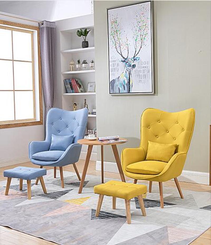 H Nordic Single Living Room Sofa Balcony Apartment Mini Chair Modern Minimalist Sofa Personality Leisure Bedroom Room Chair