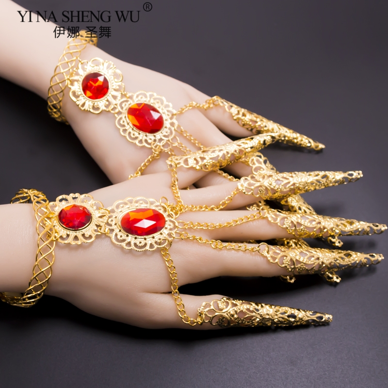 Ethnic Dance Avalokitesvara Nail Belly Dance Nail Bracelet Gold Belly Dance Rhinestone Nails India Belly Dance Accessories 1Pair