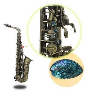 Image 3 - High Grade Antique Finish Bend Professional Eb E flat Alto Saxophone Sax Shell Key Carve Pattern  with Case Gloves Straps Brush