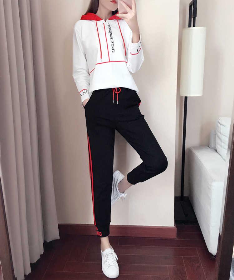ファッションスポーツスーツ女性春秋の新女性セット韓国ツーピースセットトップとパンツフードトラックスーツ女性青少年服