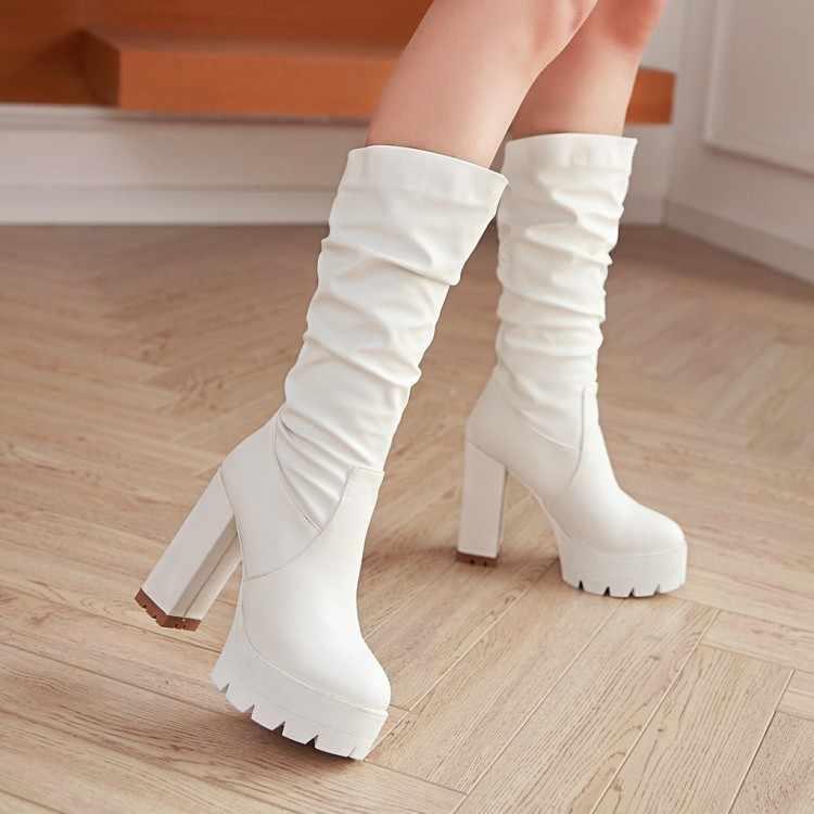 Big Size Laarzen Vrouwen Schoenen Laarzen Voor Vrouwen Dames Laarzen Geplooide Mouw Waterdichte Tafel
