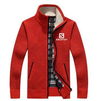 2019 NEW autumn and winter Sweater Men Salomon SweaterCoats Male Thick Faux Fur Wool Mens Sweater Jackets Zipper Knitwear
