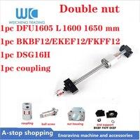DFU1605 Double Ballscrew length 1600 1650 mm + DSG16H ballnut + Ball screw End Support + 6.35mm to 10mm coupling.