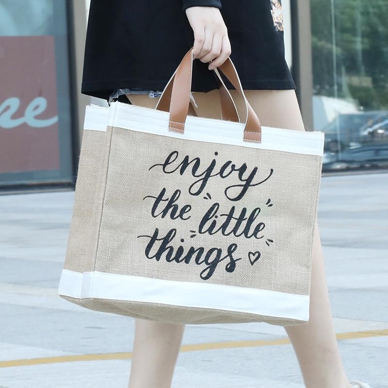 Женская льняная вместительная Повседневная сумка, винтажная Женская пляжная сумка на плечо с буквенным принтом, сумка для покупок
