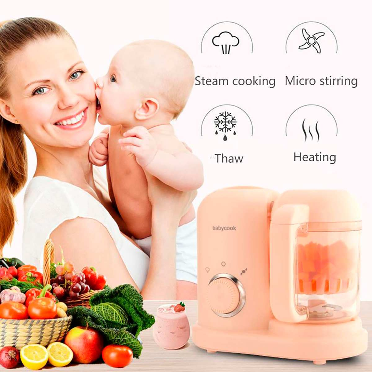 Baby Food Maker Multifunction Electric Children Food Cooking Maker Steamer Mixing Grinder Blenders Processor Juicing Stirring