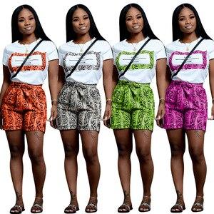 Image 5 - Echoine Vrouwen Slangenprint 2 Stuks Sets Zomer Korte Mouw T shirt Casual Shorts Rood/Oranje Trainingspak Outfits S XXL