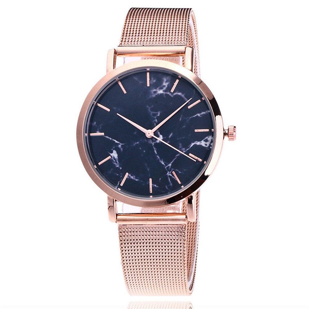 Fashion Simple Women Watches Stainless Steel Strip Marble Dial Ladies Quartz WristWatch Gifts Zegarki Damskie часы женские /d