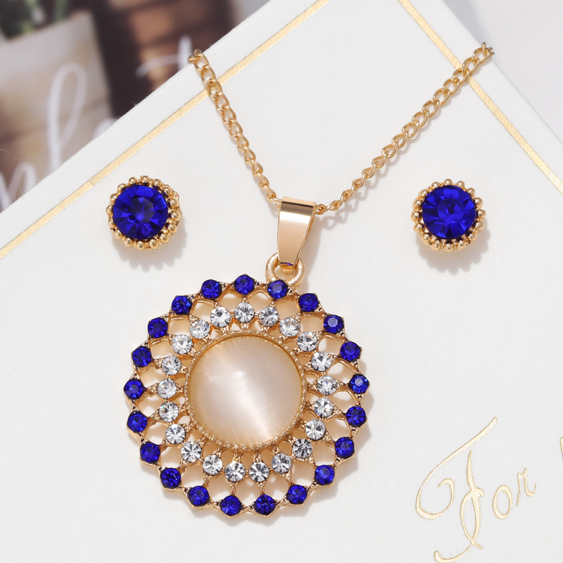 Exquisite Gold Color Bridal Jewelry Sets Bling Austrian Crystal Opal Stone Pendant Necklaces Earrings Wedding Accessory Gifts