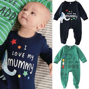 0-6 miesięcy nowonarodzone chłopcy Footies kombinezon niemowlę Boys Baby słoń Foot odzież kombinezon w paski Baby Boys Clothes tanie i dobre opinie Imcute 0-3 miesięcy 4-6 miesięcy Pasuje prawda na wymiar weź swój normalny rozmiar COTTON