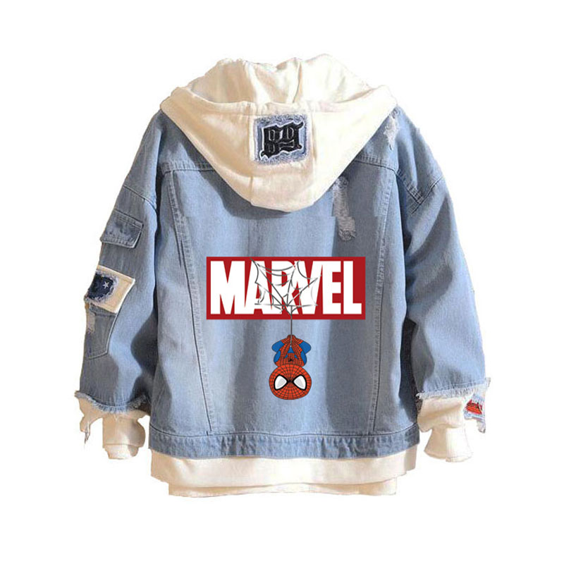 Marvel Comics Spider Man Casual Hoodies Unisex Cowboy Fake Two Pieces Sweatshirt Hole Denim Jacket Coats