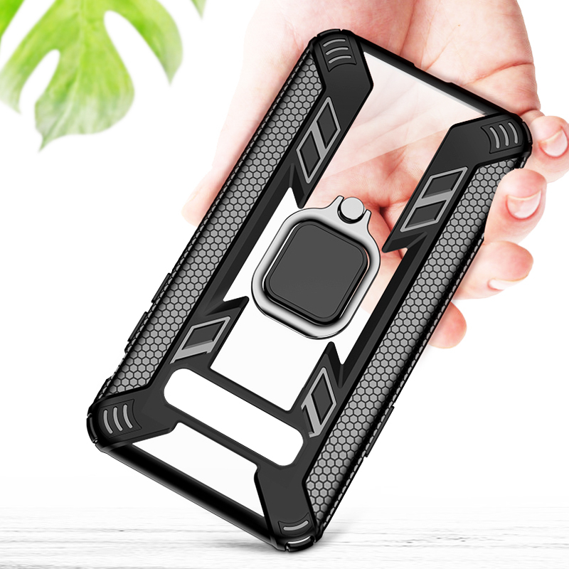 Shockproof <font><b>Armor</b></font> <font><b>Case</b></font> For <font><b>Samsung</b></font> Galaxy S10 Plus S10E A50 Note 10 A30 <font><b>A20</b></font> Note10 A30S A50S Soft TPU Stand Ring Holder Cover On image