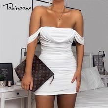 Tobinoone beyaz örgü Draped Bodycon elbise seksi yaz kadınlar için açık omuzlu dantelli parti elbiseler kadın zarif Mini elbise Clubwear
