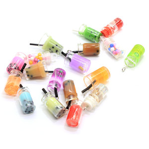 10/50 pcs3D Simulation Pearl Milk Tea Bottle Resin Charms Earring Base Findings Cute Diy Keychain Keyring Pendant Handmade Jewel