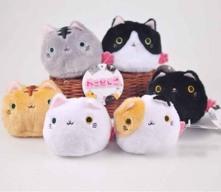 새로운 1PCS 6 색 KAWAII 8CM 고양이 박제 완구 키 체인 고양이 선물 플러시 장난감 인형 키즈 파티 생일 인형 장난감 소녀를위한 새로운