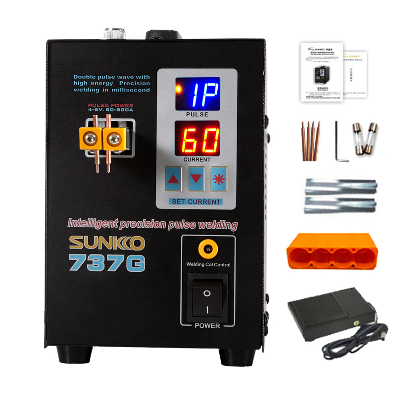 SUNKKO 737G Battery Spot Welder 1.5KW LED Pulse 18650 Lithium Battery Spot Welding Machine Maximum Welding 0.2mm Nickel Belt Pin