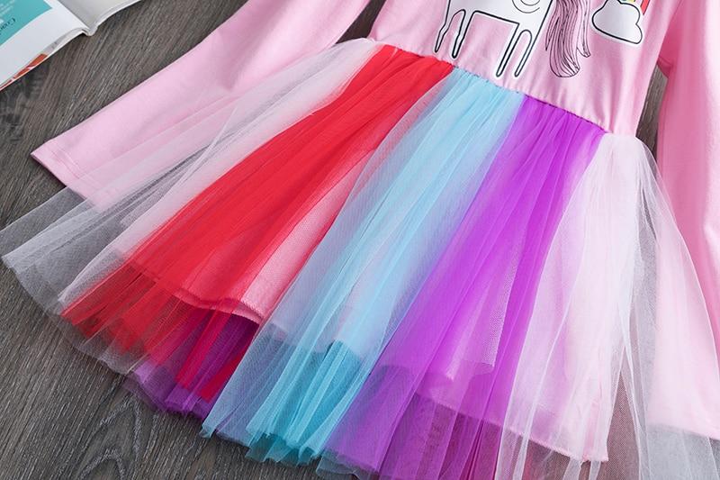 H0d3e691de0874085a1d0e831b7fad7c3F 3-8 Years Girls Dress Long Sleeve Kids Unicorn Party Vestidos Fancy Children Princess Dresses Kids Birthday Dress For Girl