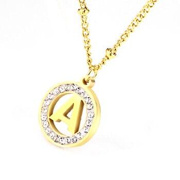 Collar de letras de acero inoxidable collar colgante inicial para mujer collar...