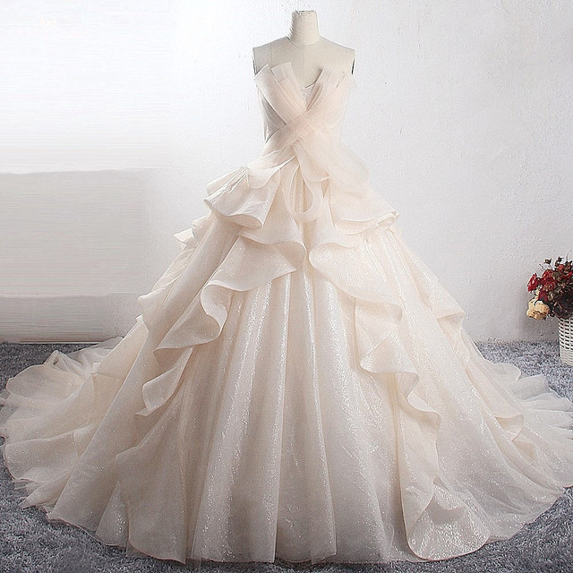 LZ398 Amazing Shiny Princess Wedding Dress New Bling Bling Ball Gown Luxury Bride Dress Vestido de Noiva Custom Made Mariage