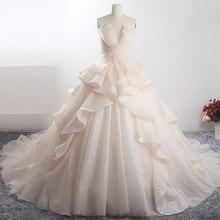 LZ398 アメージング光沢のある王女のウェディングドレス新ケバケバ夜会服の高級花嫁のドレス Vestido デ Noiva カスタムメイドマリアージュ