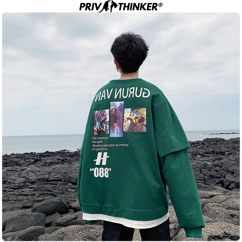 Privathinker Hip Hop Letter Print Men Hoodies 2019 Autumn Loose Male Hooded Sweatshirts Men's Street-style Sweatshirt Tops 5XL