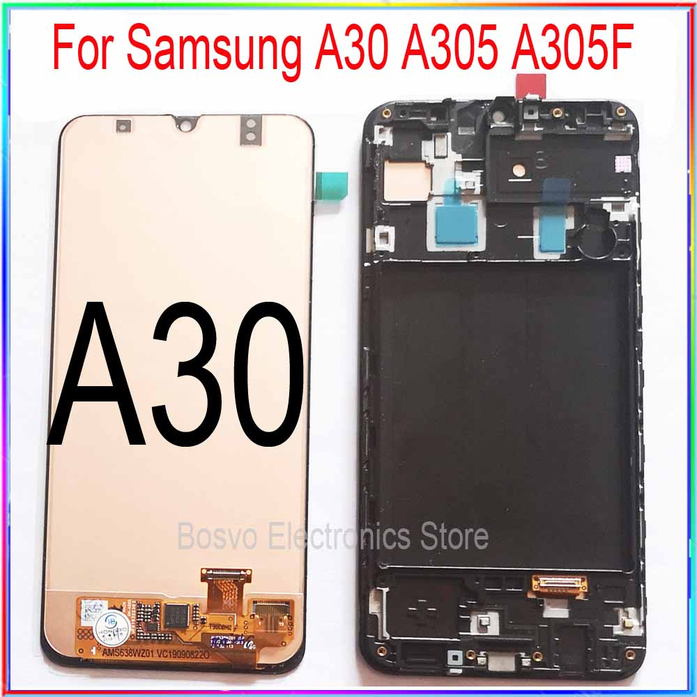 for <font><b>Samsung</b></font> <font><b>A30</b></font> <font><b>LCD</b></font> screen display A305 with touch with frame assembly Replacement repair parts A305F A305FD A305A image