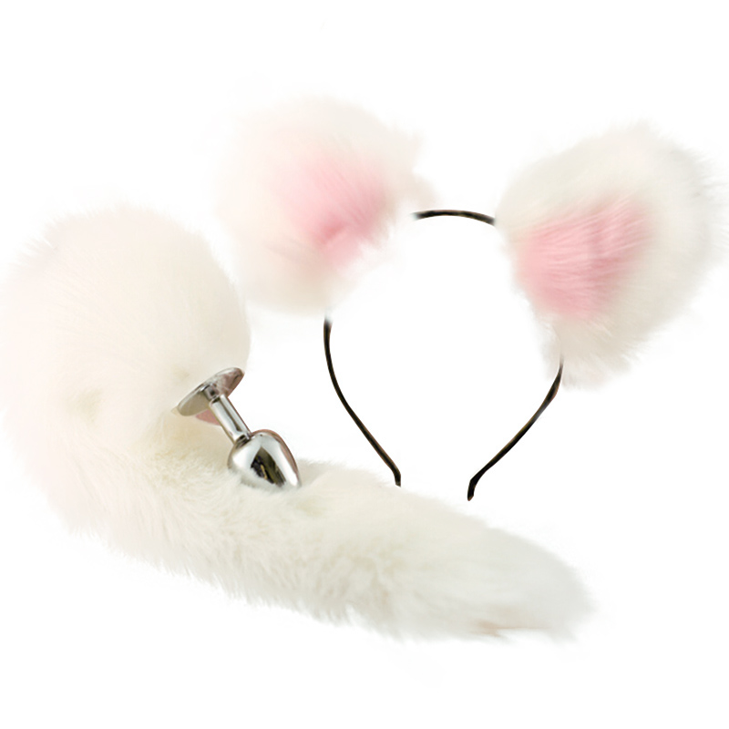 Cute Soft <font><b>Cat</b></font> Ears Headbands With 40cm Fox Tail Bow Metal Butt Anal Plug Erotic Cosplay Accessories <font><b>Sex</b></font> <font><b>Toys</b></font> For Couples image
