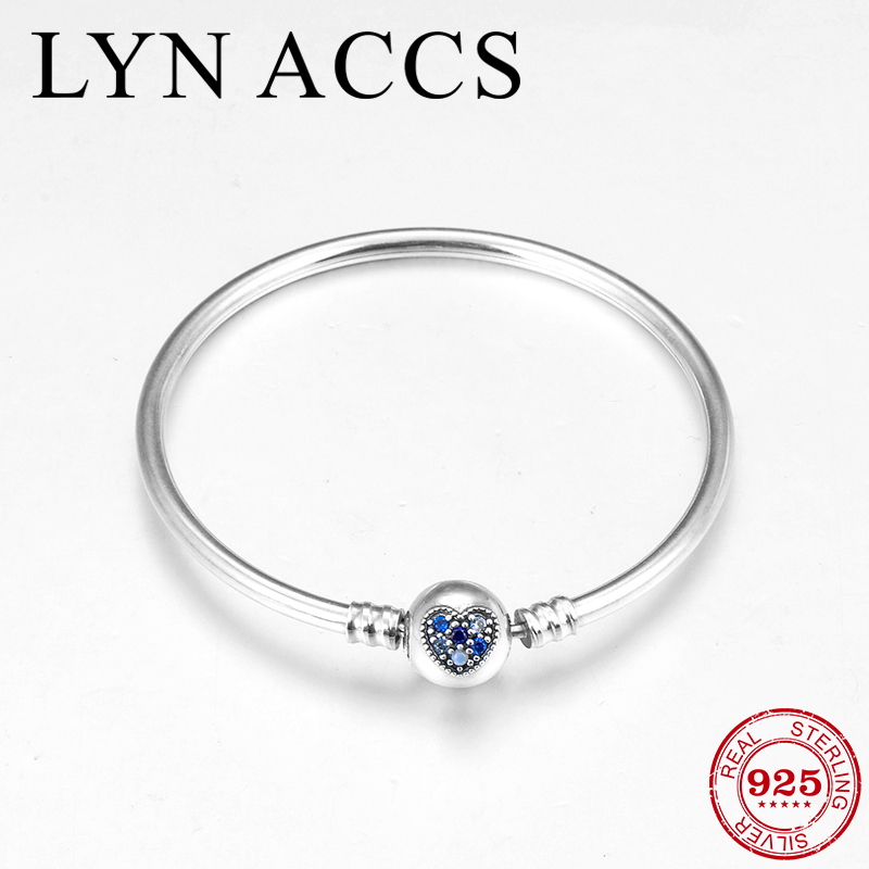 2019 New Charm Blue CZ Heart Round 925 Sterling Silver Bangles for Women Gift fine Beads Bracelet Fashion DIY Jewelry Making