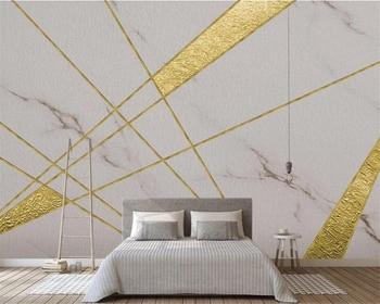 Custom wallpaper 3d modern minimalist geometric lines gold foil marble texture background wall обои living room bedroom фотообои