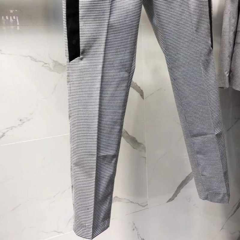 Euro Marke Mens Plaid Business Caual Anzug Set Blending Slim Fit Bräutigam Kleid Anzüge Knöchel Länge Hosen Büro Arbeit Mann outfit Tragen