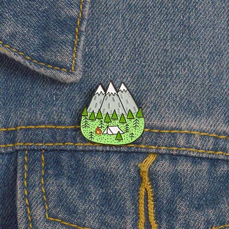 Pemandangan Kerah Pin Logam Gunung Salju Hutan Langit Berbintang Sun Moon Bros Lencana Tas Enamel Pin Perhiasan Hadiah untuk Teman