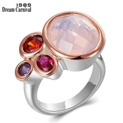 DreamCarnival1989 Dazzling Pink Tone Zirconia Rings for Women Top Quality Radiant Cut CZ Chic Fashion Wedding Jewelry WA11703