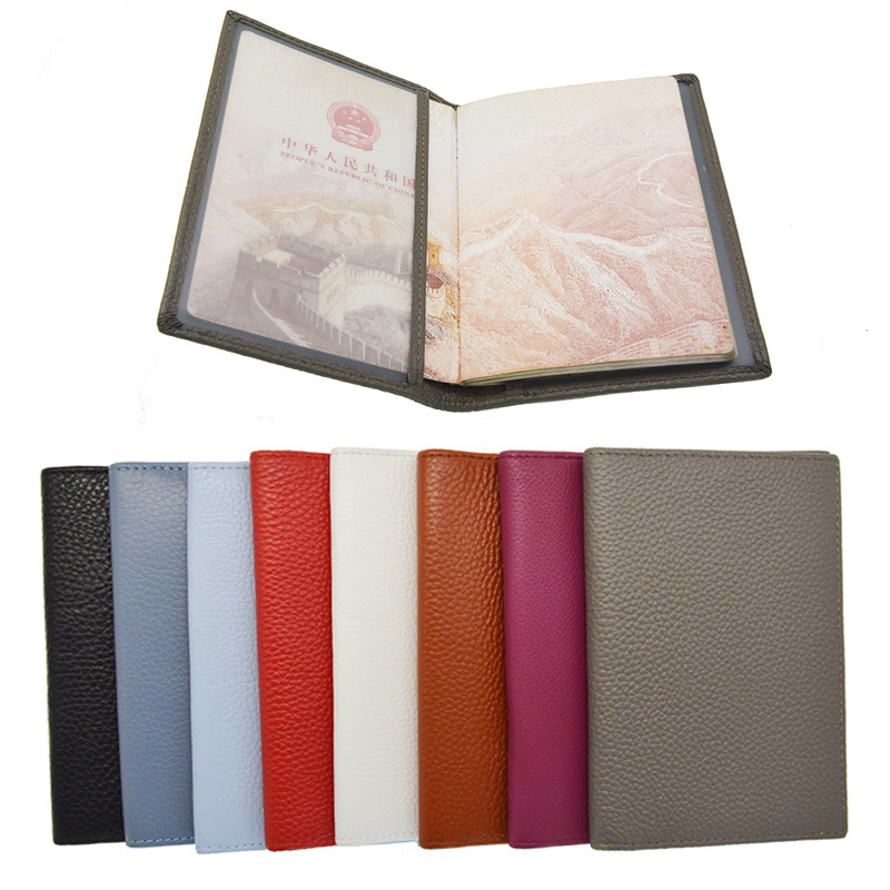 Genuine Leather Litchi Grain Passport Holder Soft Solid Blank Candy Color Cover For The Passport Case Suit For Custom Name/logo