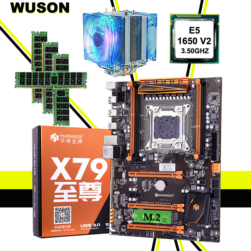 Brand Motherboard On Sale HUANANZHI X79 Motherboard With M.2 Slot CPU Intel Xeon E5 1650 V2 With Cooler RAM 16G(4*4G) REG ECC