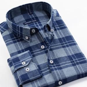 Image 4 - قميص منقوش رجالي غير رسمي قمصان فضفاضة طويلة الأكمام موضة الأعمال 100% قطن ملابس ماركة للرجال Plus Zise 6XL 7XL 8XL 9XL 10XL