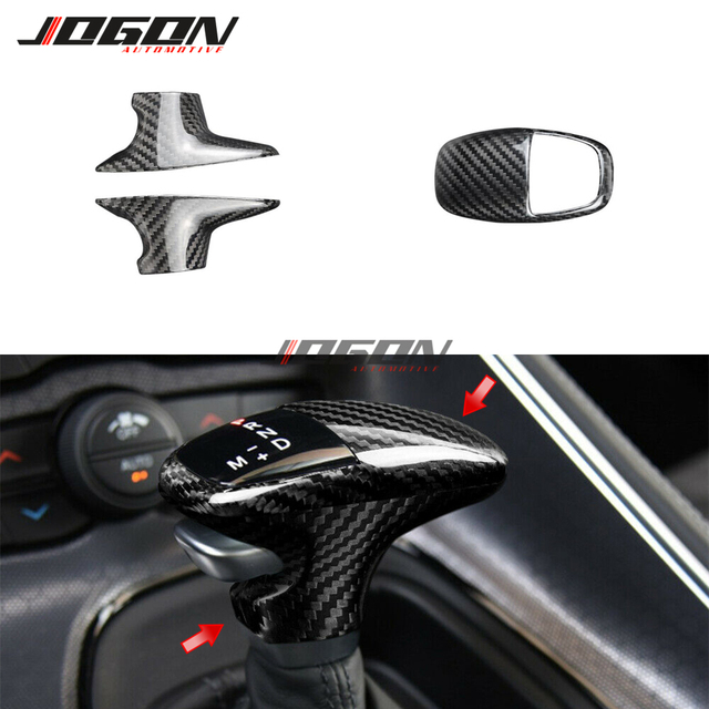 Carbon Fiber For Dodge Challenger SRT Charger SRT 2015 2018 2019 Car Accessories Interior Trim Gear Shift Knob Cover