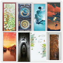 3d Door Sticker Self Adhesive Flower Renew Home Decor Figure Print Art Landscape PVC Waterproof Wallpaper Sea Picture Boys Room(China)