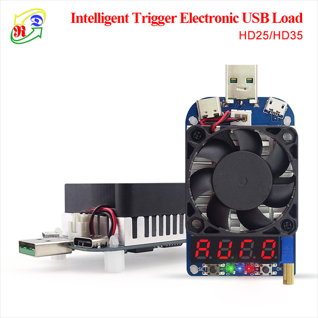 RD HD25 HD35 Trigger QC2.0 QC3.0 Electronic USB Load resistor Discharge battery test adjustable current voltage 35w